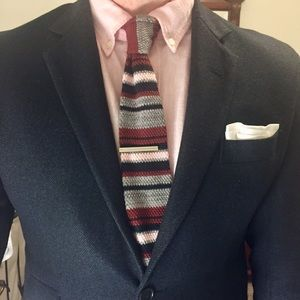 Other - Maroon, Pink, Grey, and Black Striped Knit Tie!